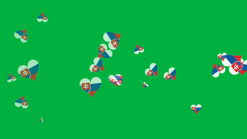 Isolated moving Slovakia heart flag particles on green background. Flags of Slovakia. Slovakia national flags. UERO 2016