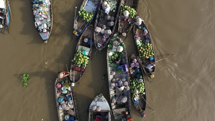 Aerial video from above, over a traditional floating market, in south of Vietnam   Shutterstock HD Video #17350639