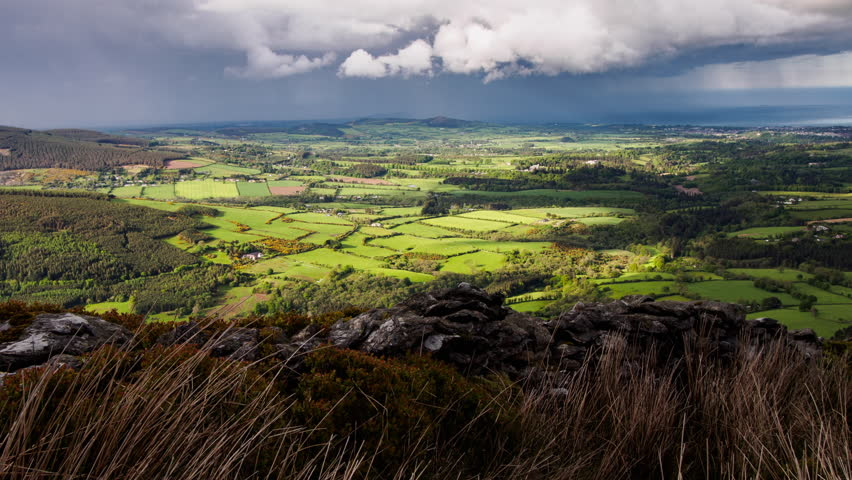 View towards Dublin from the top of Maulin Hill, County Wicklow, Ireland. | Shutterstock HD Video #17352238