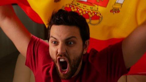 Spanish Fan Celebrating in Slow Motion