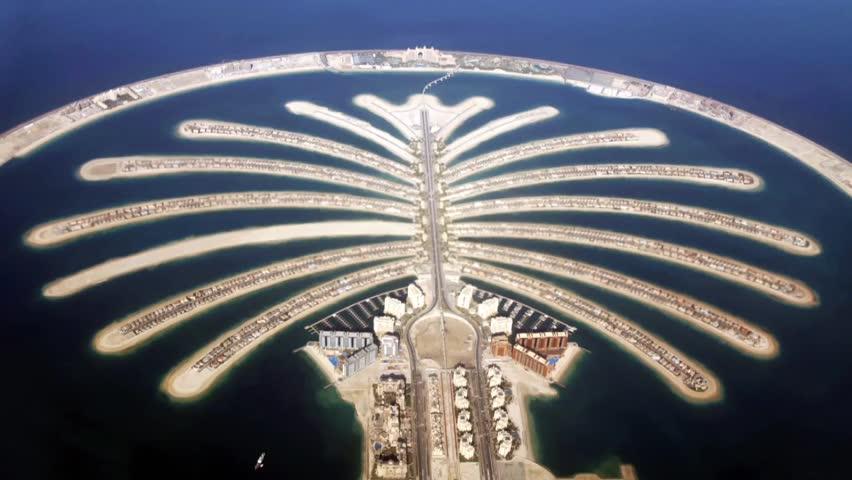 Jumeirah Palm Island  In Dubai top view