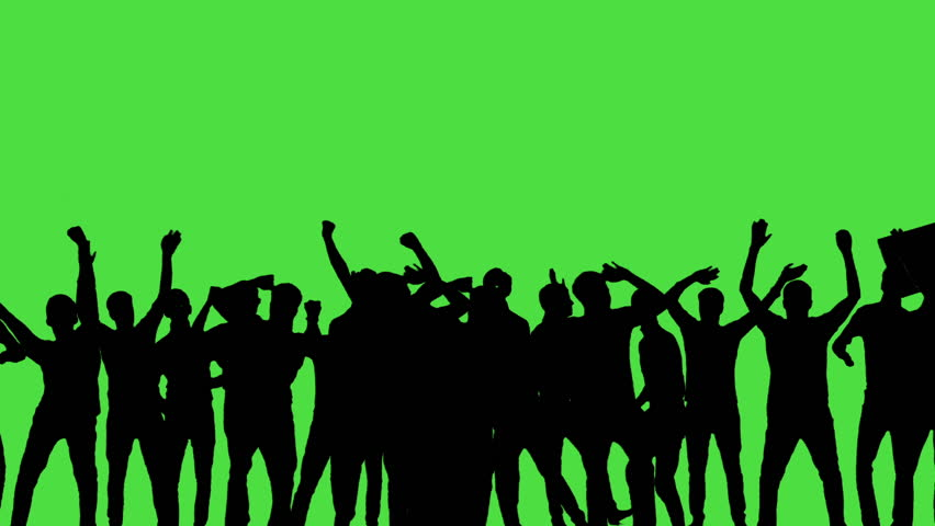 A crowd of dancing people, all in silhouette, on a greenscreen. | Shutterstock HD Video #17375026