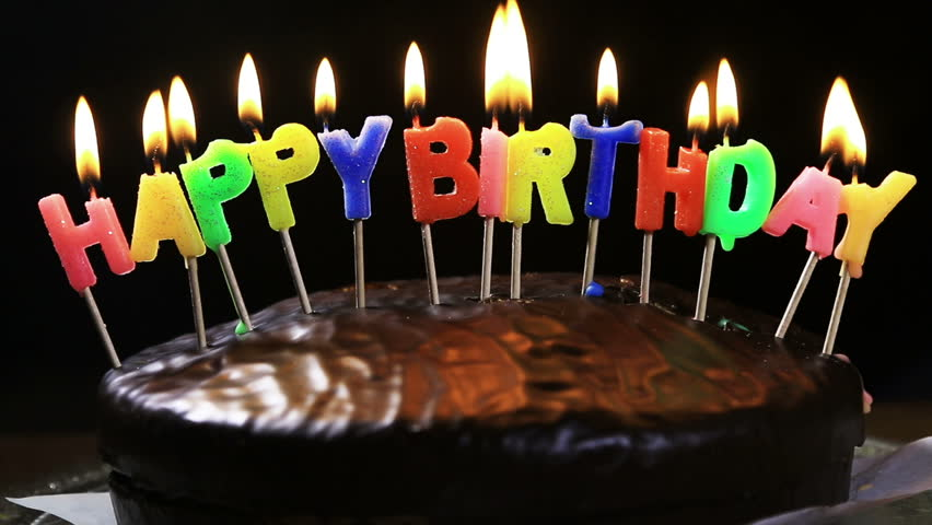 Image Of Birthday Cake With One Candle : Lighted Candles On A Happy Birthday Cake. Candles With The ...