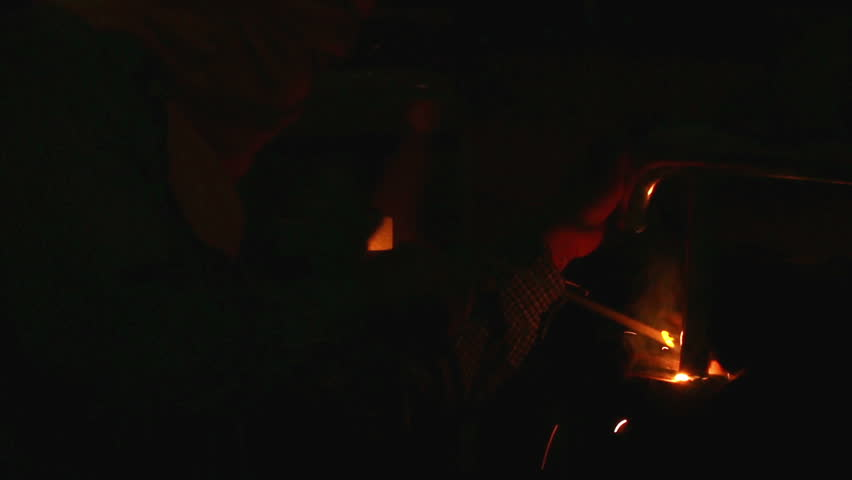 Man Preparing An Old Fashioned Lantern In Darkness. How To Light ...