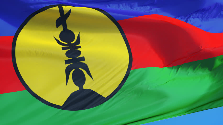 New Caledonia flag waving in slow motion against clean blue sky seamlessly looped, close up, isolated on alpha channel with black and white luminance matte, perfect for film, news, digital composition
