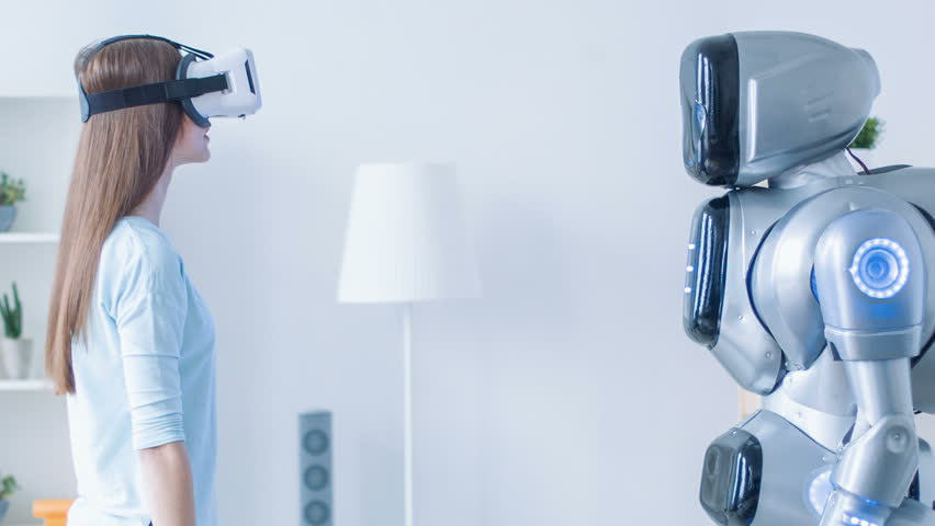 Pretty smiling woman repeating motions after robot | Shutterstock HD Video #17433139