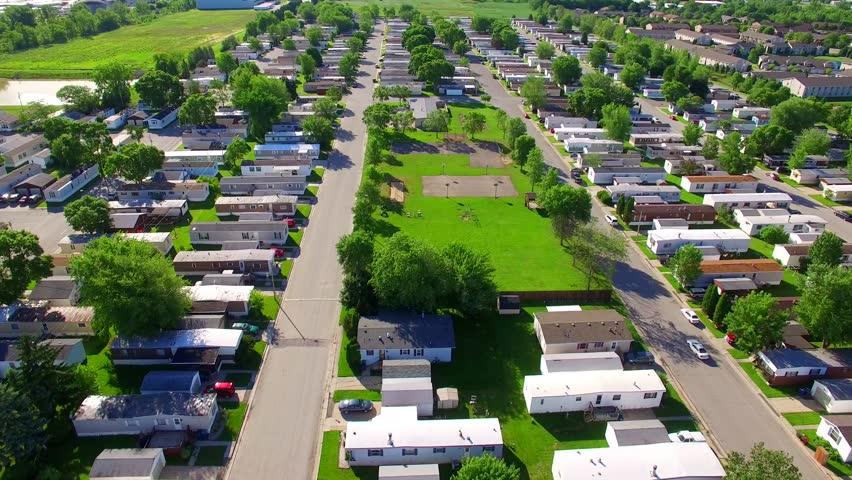 Vast Trailer Park Mobile Home Court On Sunny Summer Morning Aerial View