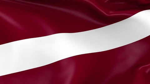 Photo realistic slow motion 4KHD flag of the Latvia waving in the wind. Seamless loop animation with highly detailed fabric texture in 4K resolution.