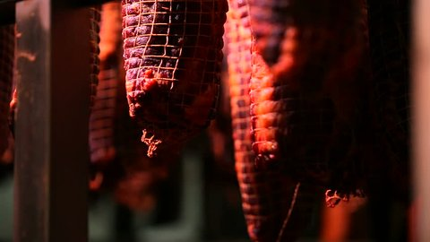 Dried meat hanging in the food factory