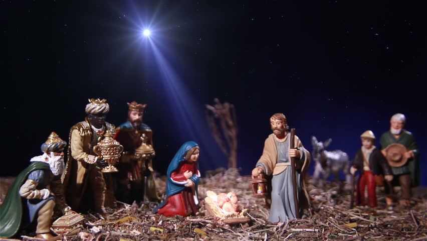 Nativity scene exhibit figures representing the infant Jesus, his mother Mary, Joseph, shepherds and the Magi.