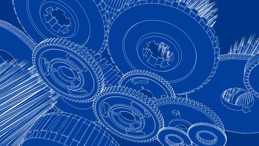 Hand drawn metal gear wheels rotating on the blueprint paper gears turning blueprint sketch animation hd stock footage clip malvernweather Choice Image
