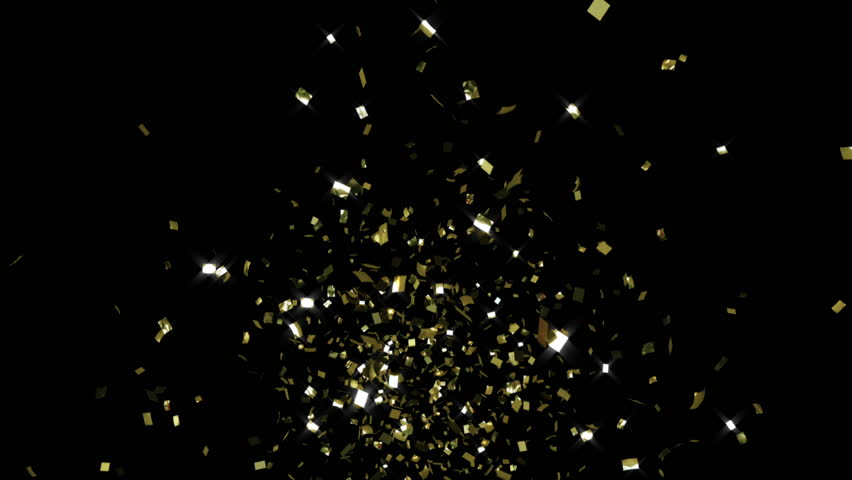 Single cracker 2, gold confetti, toward camera, CG with alpha mask | Shutterstock HD Video #17547484