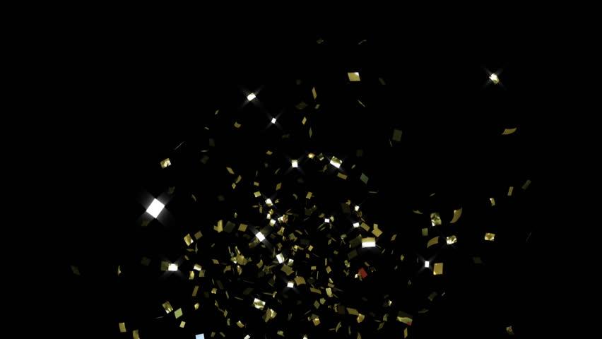 single cracker, gold confetti, toward camera, CG with alpha mask