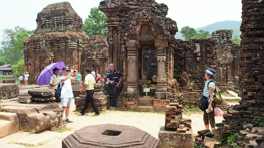 Hoi An - 9 April:  Tourists are visiting the Cham temples ruins of My Son near Hoi An, Vietnam on 9 April 2016