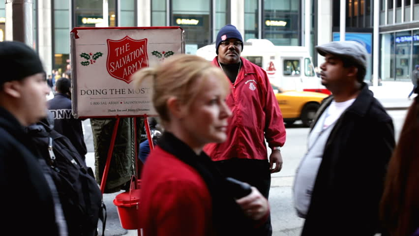 NEW YORK CITY, NY - NOVEMBER 24: Male at Salvation Army asking for donations on Thanksgiving Day November 24, 2011 in New York City, New York.