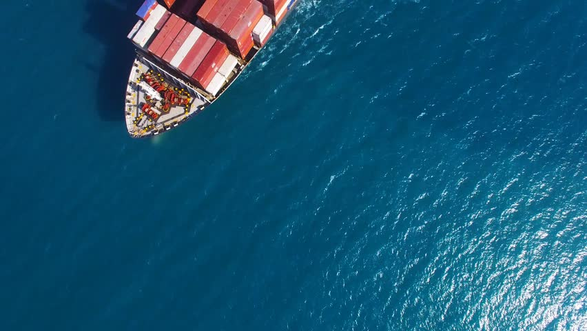 Large container ship at sea - Aerial footage | Shutterstock HD Video #17577877