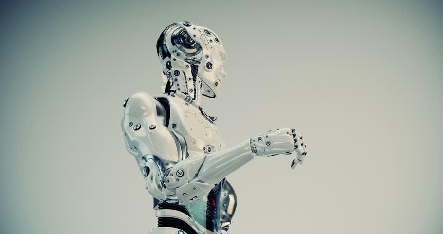Robotic man gesturing