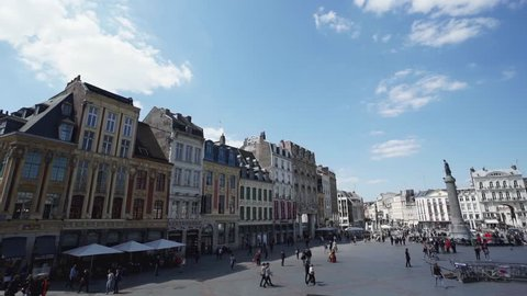 Main square of Lille during Summer, France