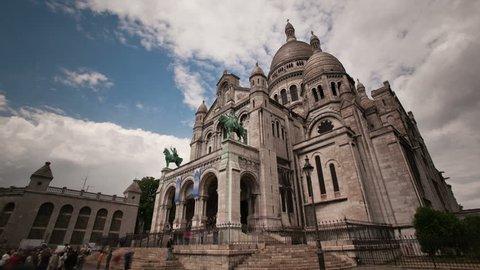 Sacre Coeur church in montmarte Paris timelapse