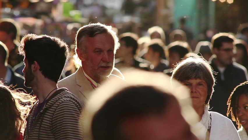 PARIS - JUNE 2011:  Tourists fill the crowded Latin Quarter in Paris with late afternoon sun | Shutterstock HD Video #1759298