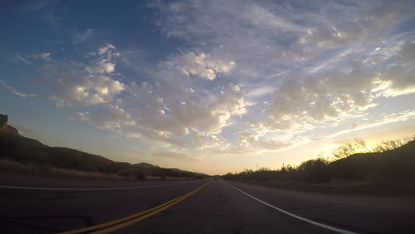Mesa, AZ/USA - 6- 25, 2016: 6 of 8, Time-lapse drive on Bush Highway, Arizona. It begins at northern end of Power Road and extends northeasterly through Tonto National Forest to the Beeline Highway #17598838