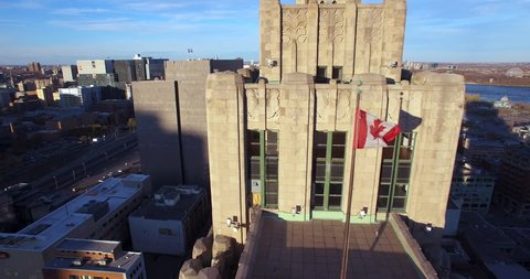 Aerial view of building with Canadian flag in Downtown Montreal (November 01, 2015 - Montreal, Canada)