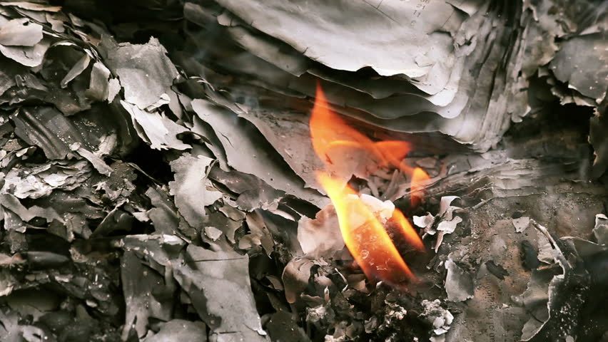 Bonfire Of Books And Personal Documents Being Destroyed