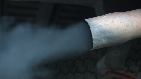 Car Exhaust close up, Slow motion