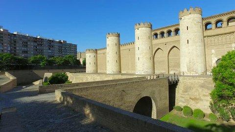 Wall and bridge of Aljaferia - fortified medieval Islamic palace, Zaragoza, Aragon, Spain