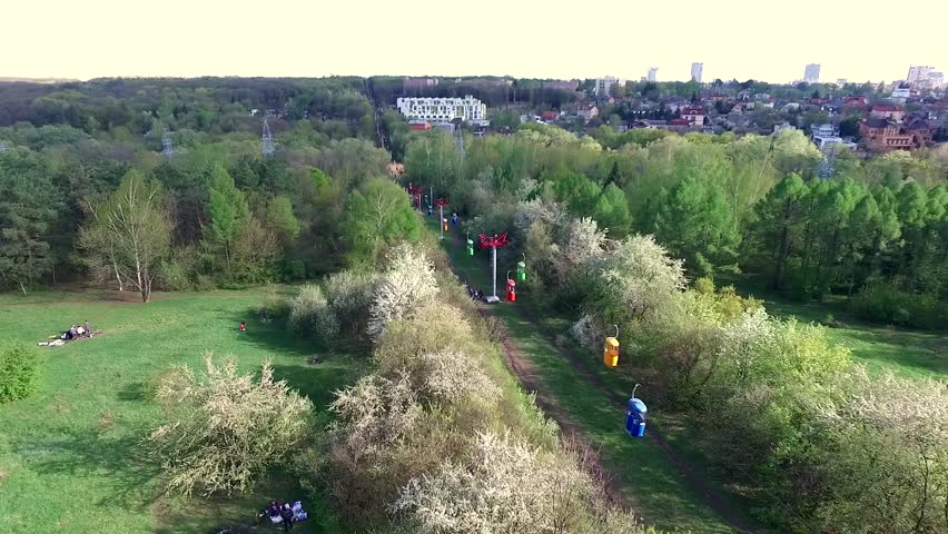 beautiful view of cableway in Kharkiv Gorky park, aerial video