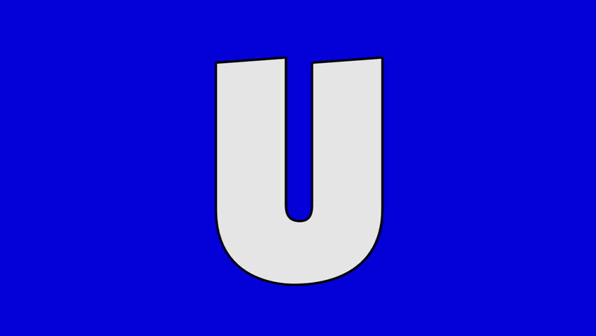 Letter U and  Unicorn (foreground). Animated animal alphabet. Motion graphic with chroma key. Animal in a foreground of a letter. | Shutterstock HD Video #17702158