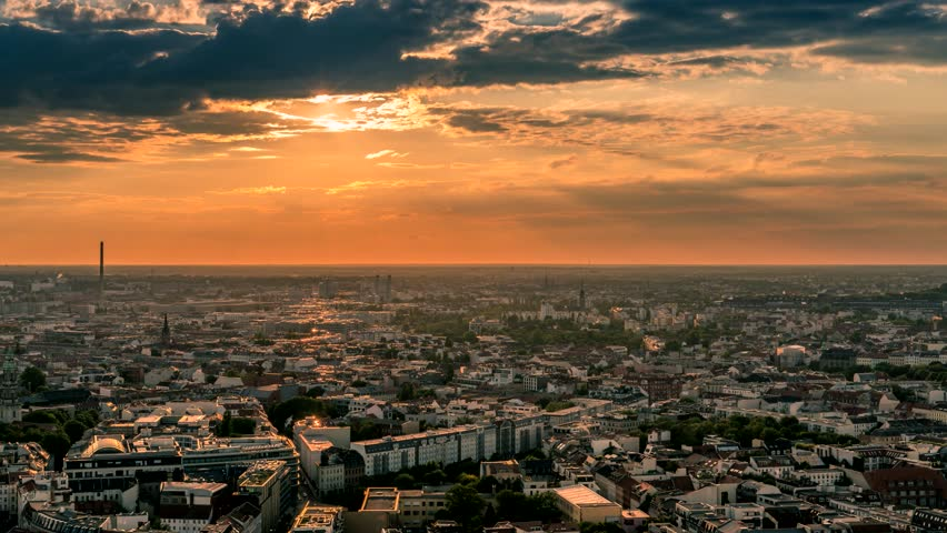 Perfect Skyline Aerial Of Berlin Stock Footage Video 100 Royalty