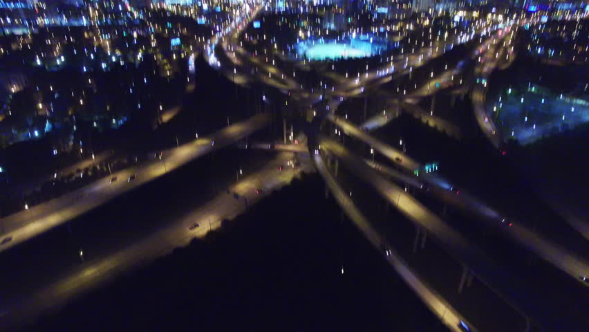 Aerial view of cloverleaf highway interchange in Miami, Florida at night. | Shutterstock HD Video #17750848
