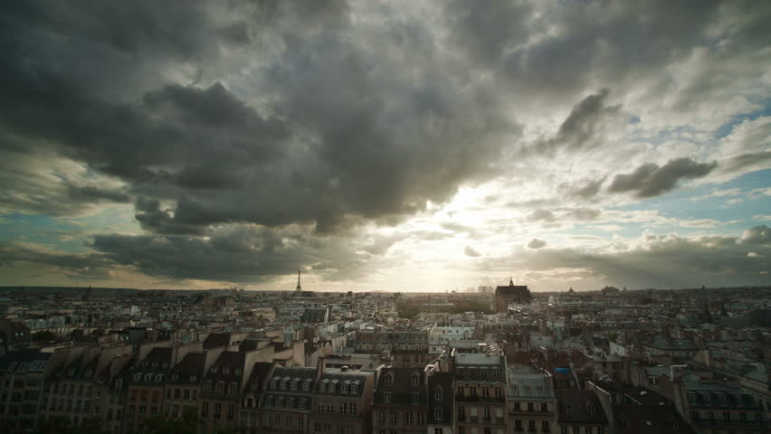 Timelapse of clouds over Paris rooftops | Shutterstock HD Video #1776368