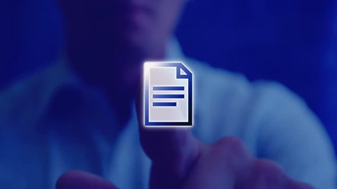 Futuristic template for text. A man touches the virtual screen, clicks on the icon of a text file and opens a frame for the editable text box. Background template for text.
