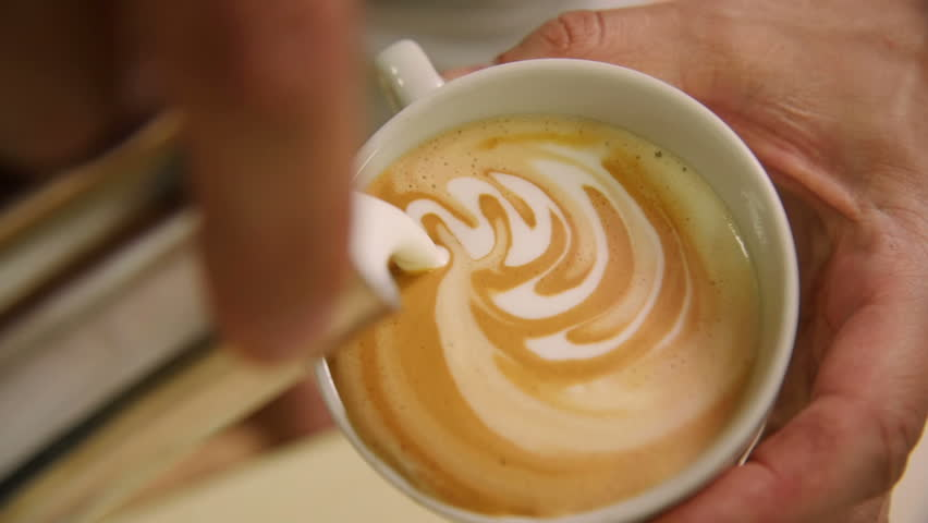 Making of cafe latte art, heart shape | Shutterstock HD Video #17843395