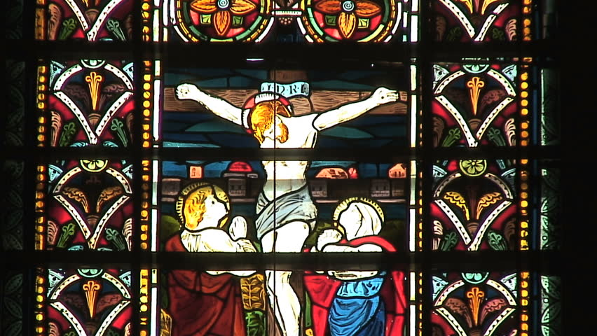Stained-glass window depiction of Jesus' crucifixion in Galle, Sri Lanka