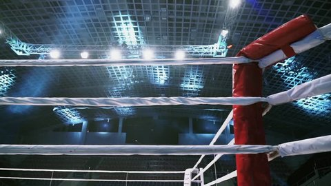 Flight Along Ropes of a Boxing Ring in the Sports Arena