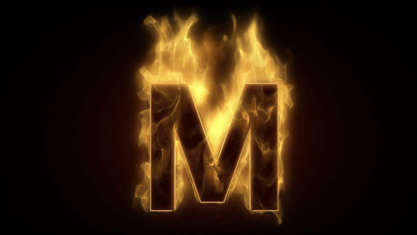 Fiery Letter M Burning In Loop With Particles