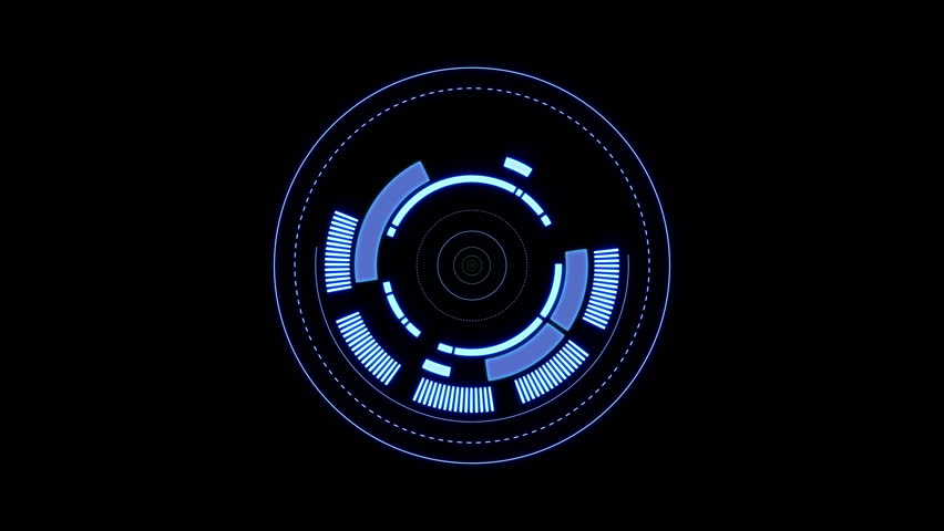 3 HUD circle interfaces with different glowing colors