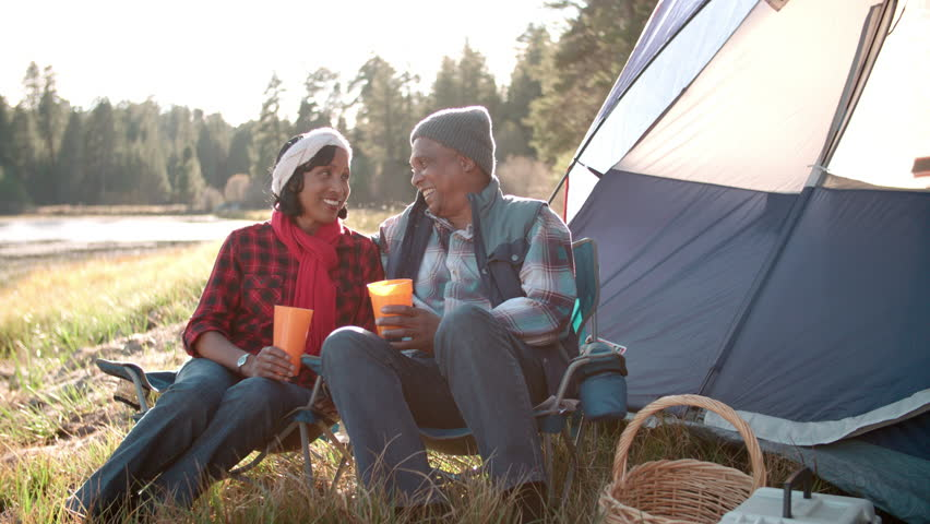 Romantic Senior Couple On Camping Holiday Stock Footage ...
