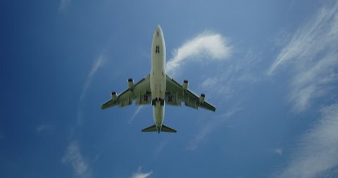 747 from the front is landing, Airport Frankfurt, Germany