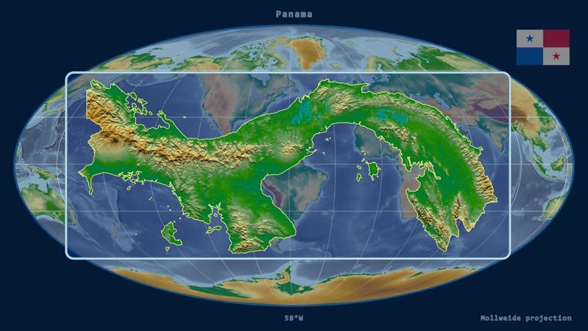Panama Shape Animated On The Physical Map Of The Globe Stock - Physical map of panama