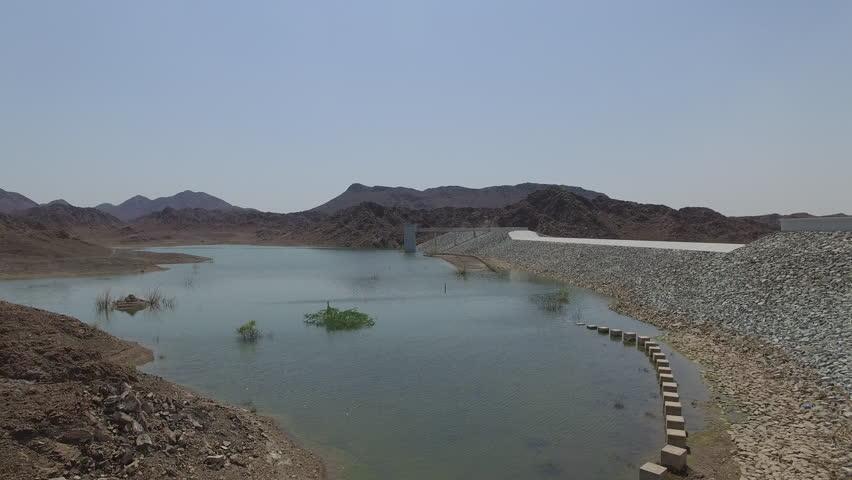 A Water less dam between mountains