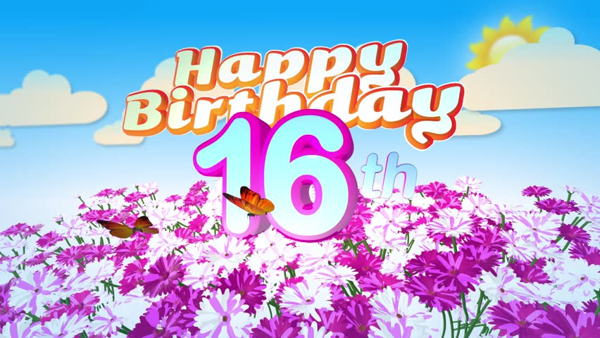 Animated Happy 16th Birthday Card With A Field Of Flowers While Two Little Butterflys Circulating Around The Logo Twenty Seconds Seamless Loop