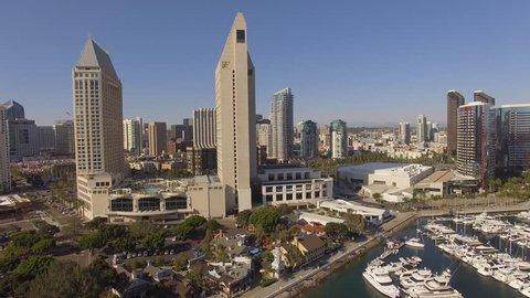 Aerial Embarcadero Marina Park North, San Diego California