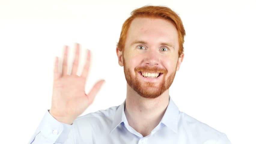 hi , man saying hello , good morning or good bye