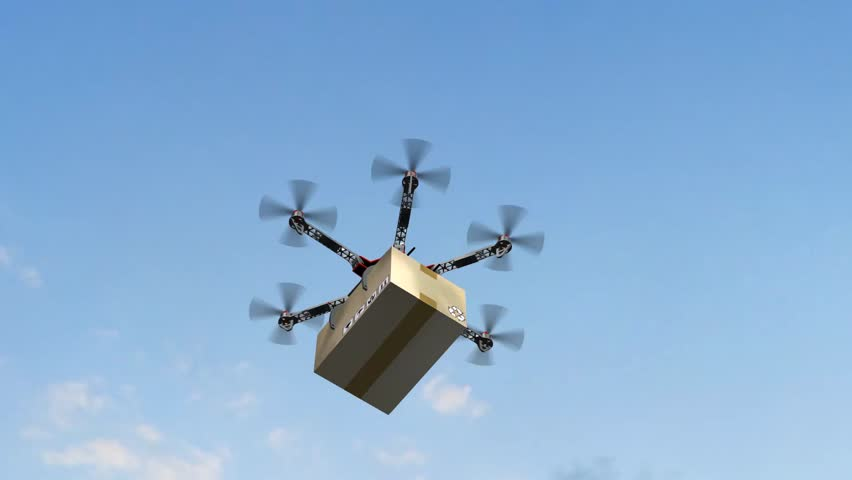 Drone Hexacopter delivers a package | Shutterstock HD Video #17977558