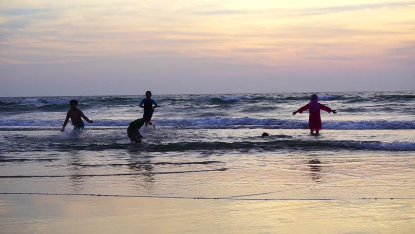 Kids having fun in beach. Happy Children joyful. #17987698