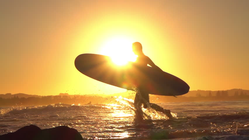 Slow Motion Silhouette Young Surfer Stock Footage Video 100